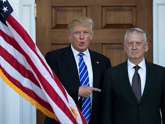 BEDMINSTER TOWNSHIP, NJ - NOVEMBER 19: (L to R) President-elect Donald Trump welcomes retired United States Marine Corps general James Mattis as they pose for a photo before their meeting at Trump International Golf Club, November 19, 2016 in Bedminster Township, New Jersey. Trump and his transition team are in …