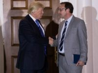 President-elect Donald Trump shakes hands with Todd Ricketts, co-owner of the Chicago Cubs, after their meeting at Trump International Golf Club, November 19, 2016 in Bedminster Township, New Jersey.