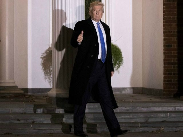 BEDMINSTER TOWNSHIP, NJ - NOVEMBER 20: Trailed by U.S. Secret Service agents, President-elect Donald Trump leaves the clubhouse following a full day of meetings at Trump International Golf Club, November 20, 2016 in Bedminster Township, New Jersey. Trump and his transition team are in the process of filling cabinet and …