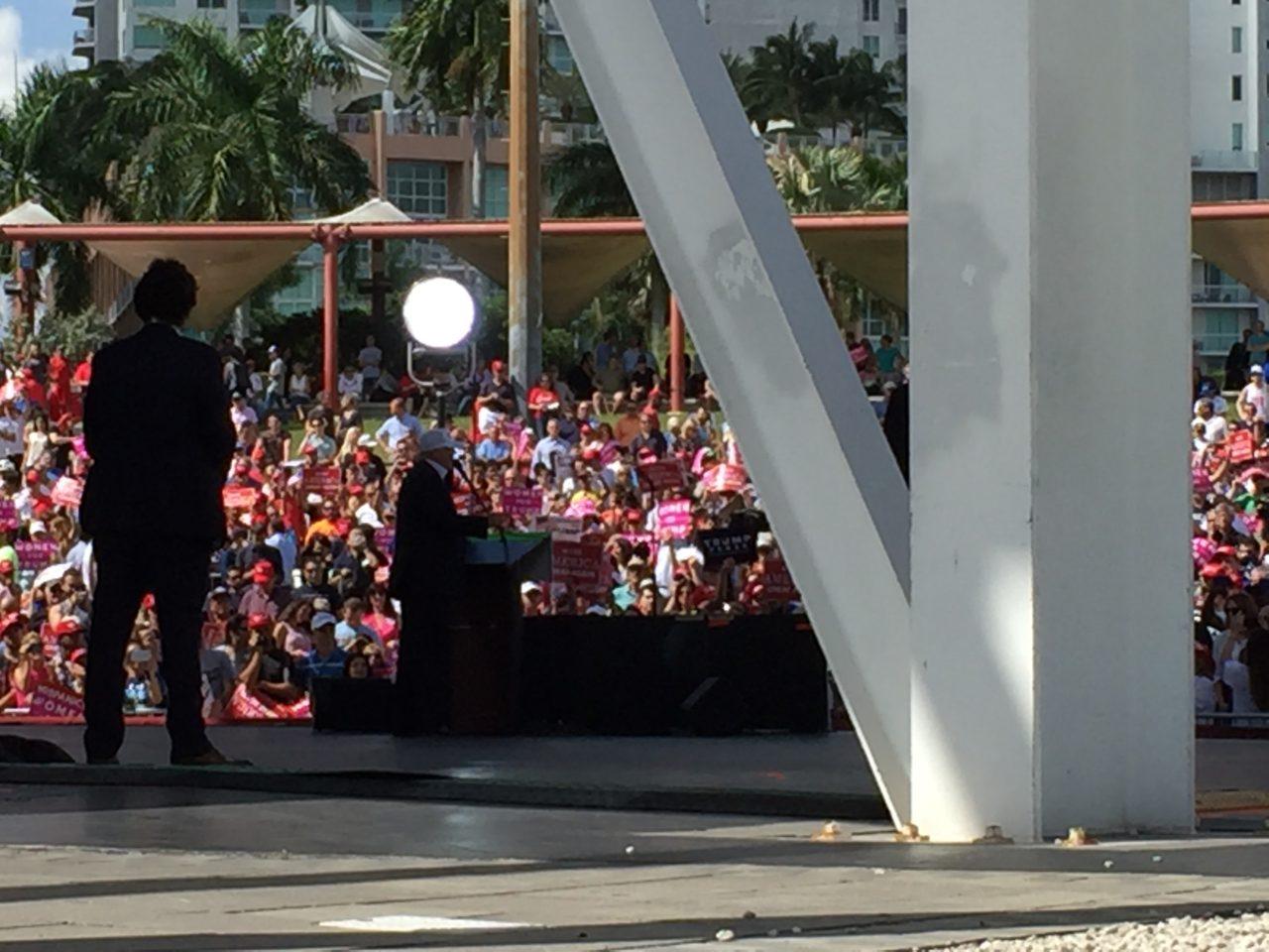 Backstage view of Trump Miami Florida Rally (Joel Pollak / Breitbart News)