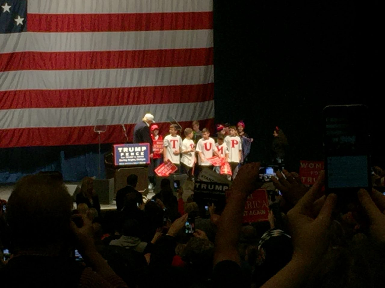 Kids on Stage for Trump Sterling Heights Michigan Rally (Joel Pollak / Breitbart News)