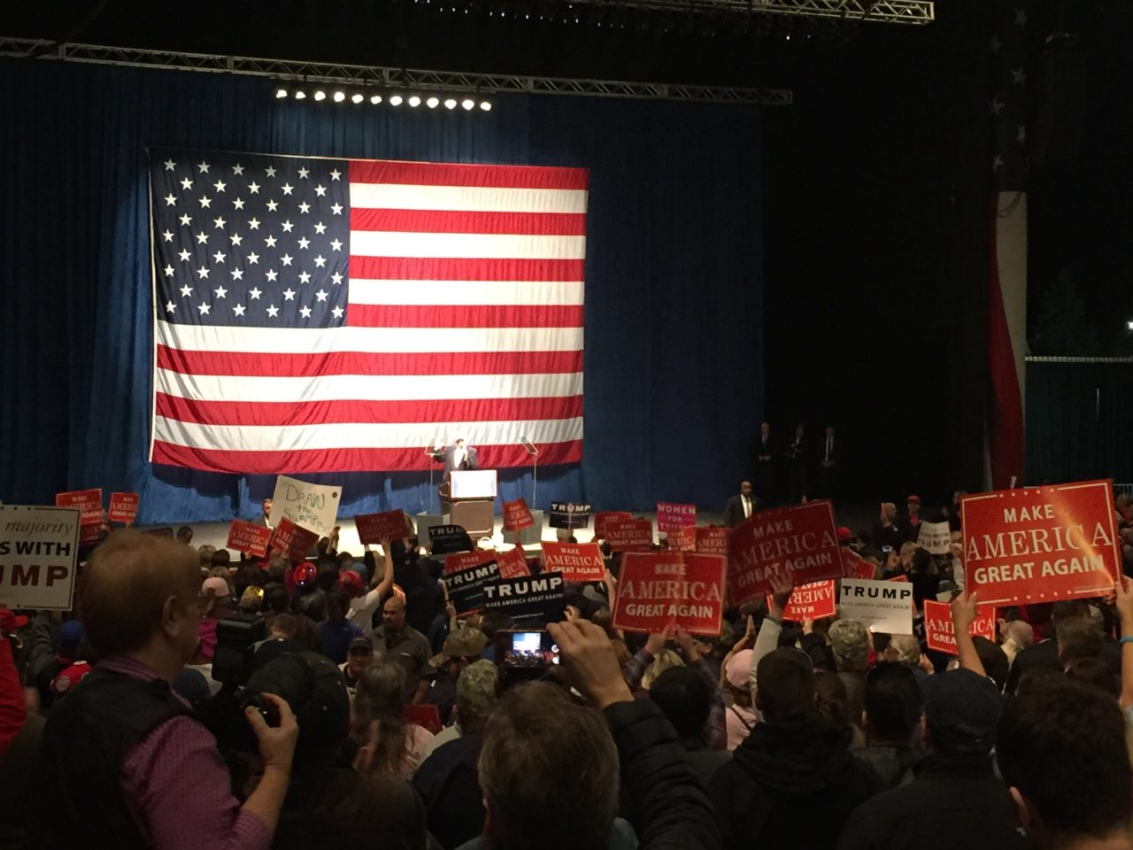 Trump and Flag Sterling Heights Michigan Rally (Joel Pollak / Breitbart News)