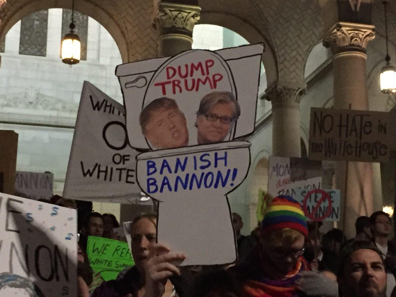 Stop Bannon Protest Los Angeles (Joel Pollak / Breitbart News)