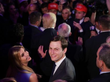 NEW YORK, NY - NOVEMBER 09: Jared Kushner and his wife Ivanka Trump acknowledge the crowd at the New York Hilton Midtown in the early morning hours of November 9, 2016 in New York City. Americans went to the polls yerterday to choose between Republican presidential nominee Donald Trump and …