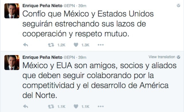Mexican president congratulates United States on election