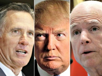 Mitt Romney, Donald Trump, John McCain AP Photos