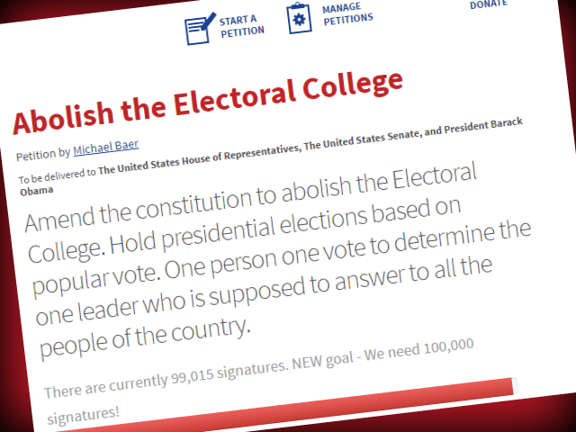 eliminate electoral college Amend the constitution to abolish the electoral college hold presidential elections based on popular vote one person one vote to determine the one leader.
