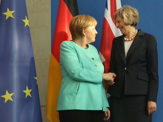 Theresa May Meets Angela Merkel after the Brexit vote