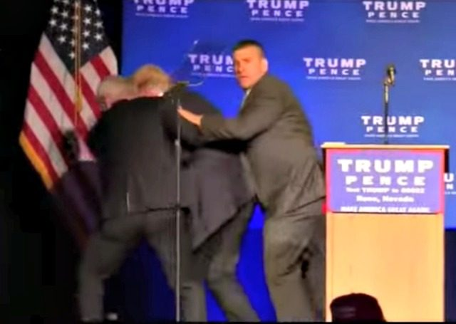 Trump Hustled off Stage