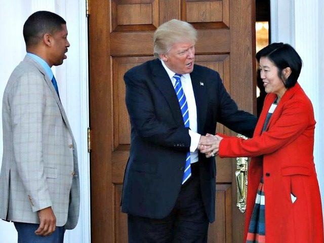 Trump and Michelle Rhee AP