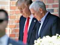 FILE - In this July 13, 2016 file photo, Republican presidential candidate Donald Trump leaves the Indiana Governor's residence with Gov. Mike Pence in Indianapolis. Trump has chosen Pence as his running mate, adding political experience and conservative bona fides to his Republican presidential ticket. Trump announced his decision on …