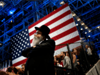 A Jewish man watches voting results come in at Democratic presidential nominee former Secretary of State Hillary Clinton's election night event at the Jacob K. Javits Convention Center November 8, 2016 in New York City. Clinton is running against Republican nominee, Donald J. Trump to be the 45th President of …