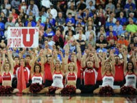 HOUSTON, TX - MARCH 27: Cheerleaders of the Utah Utes perform against the Duke Blue Devils during the South Regional Semifinal round of the 2015 NCAA Men's Basketball Tournament at NRG Stadium on March 27, 2015 in Houston, Texas. Duke won 63-57. (Photo by Lance King/Getty Images)