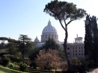 VATICAN CITY, VATICAN - FEBRUARY 19: A view of St. Peter's Basilica from the Vatican Gardens on February 19, 2013 in Vatican City, Vatican. When Pope Benedict XVI steps down on February 28, 2013 after almost eight years serving as the 265th Pope, it is reported that he will live …