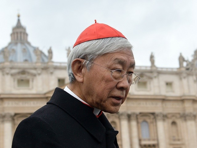 "Hong Kong cardinal Joseph Zen Ze-Kiun walks on St Peter's square after a pre-conclave meeting on March 6, 2013 at the Vatican.The Vatican on Wednesday said no date had been set for a conclave to elect a new pope and that all the 115 ""cardinal electors"" expected to take part in the vote will only be in Rome the day after. AFP PHOTO / ALBERTO PIZZOLI (Photo credit should read ALBERTO PIZZOLI/AFP/Getty Images)"