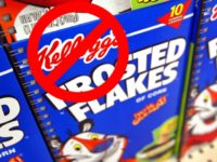 Boxes of Kellogg's Frosted Flakes cereal are seen displayed inside a Wal-Mart store July 28, 2003 in Rolling Meadows, Illinois. With strong company wide sales rising 17.3 percent, Kellogg's has said its second quarter earnings beat Wall Street's expectations. (Photo by Tim Boyle/Getty Images)