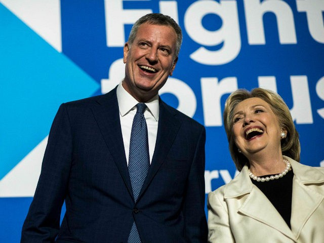 BROOKLYN, NY - Former Secretary of State Hillary Clinton speaks to supporters at an after party, accompanied by New York City Mayor Bill de Blasio, after the CNN Democratic Presidential Primary Debate at the Brooklyn Navy Yard in Brooklyn, New York on Thursday April 14, 2016. (Photo by Melina Mara/The Washington Post via Getty Images)