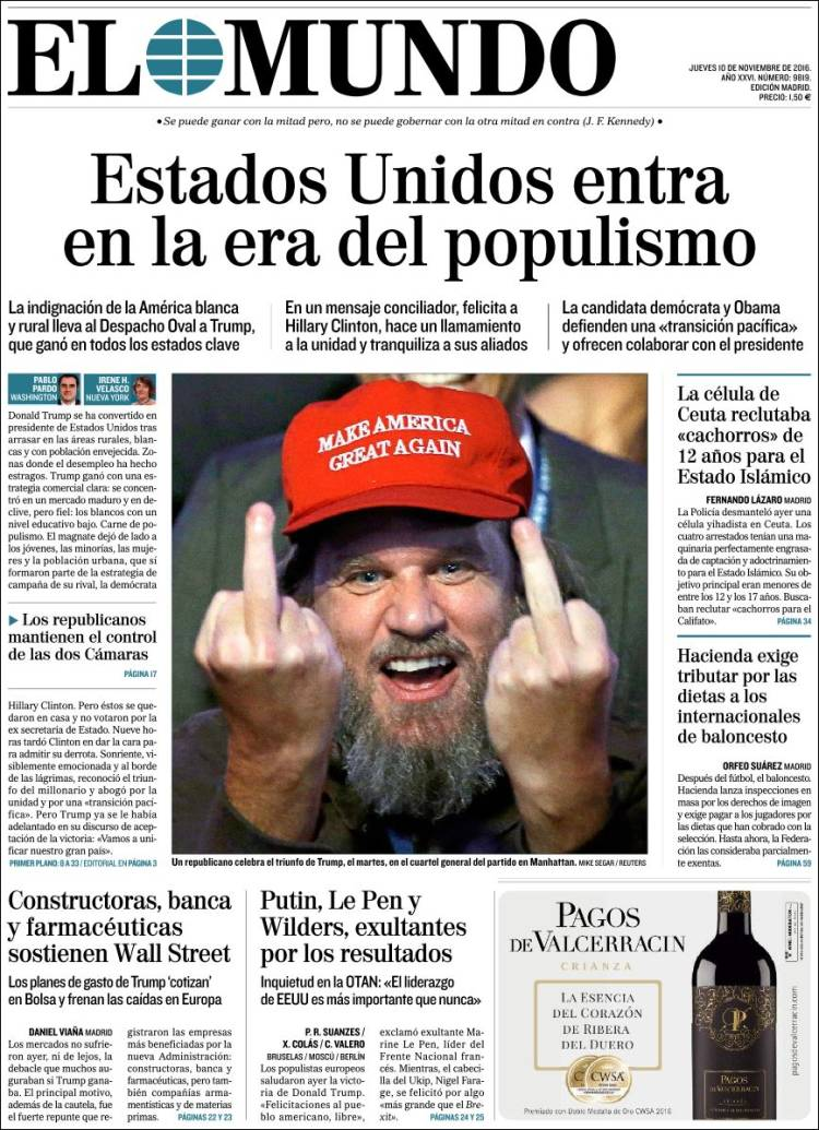 "Spain's El Mundo says the US has entered an ""era of populism"""