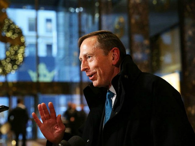 NEW YORK, NY - NOVEMBER 28: Retired General David Petraeus speaks to members of the media while leaving Trump Tower on November 28, 2016 in New York City. President-elect Donald Trump and his transition team are in the process of filling cabinet and other high level positions for the new …