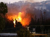 A picture taken on November 24, 2016 shows a fire raging in the northern Israeli port city of Haifa. Hundreds of Israelis fled their homes on the outskirts of the country's third city Haifa with others trapped inside as firefighters struggled to control raging bushfires, officials said.