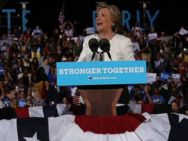 FT LAUDERDALE, FL - NOVEMBER 01: Democratic presidential nominee former Secretary of State Hillary Clinton during a campaign rally at Rev Samuel Deleove Memorial Park on November 1, 2016 in Ft Lauderdale, Florida. With one week to go until election day, Hillary Clinton is campaigning in Florida. (Photo by Justin …
