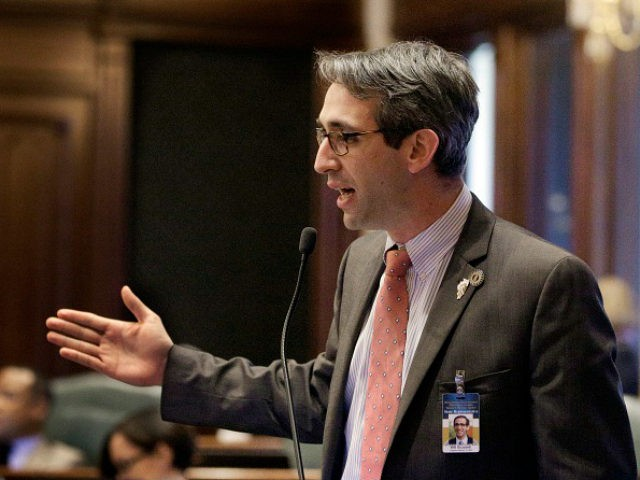 Illinois Rep. Will Guzzardi, D-Chicago, argues legislation while on the House floor during session at the Illinois State Capitol, Wednesday, April 13, 2016, in Springfield, Il. Illinois Gov. Bruce Rauner has released figures breaking down how much each Illinois school district would receive next year under his education funding plan. (AP Photo/Seth Perlman)