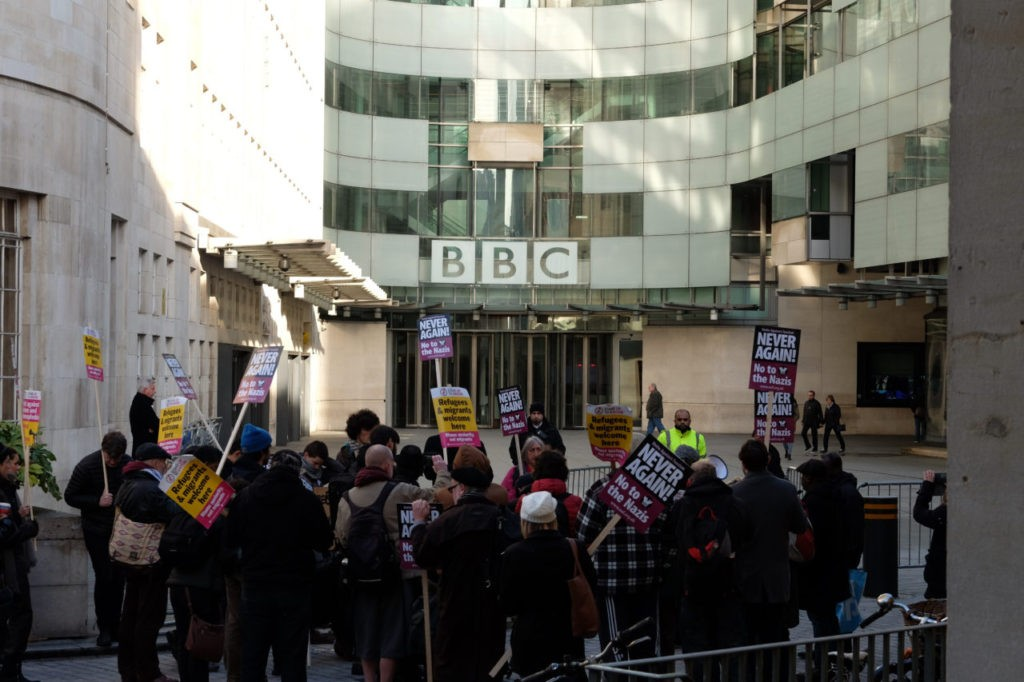 Protest against Le Pen at BBC