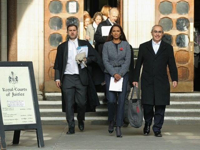 Founding partner of SCM Private LLP Gina Miller (C) leaves after the High Court decides that the Prime Minister cannot trigger Brexit without the approval of the MP's at The Royal Courts Of Justice on November 3, 2016 in London, England. Leading legal figures have been arguing the historic case …