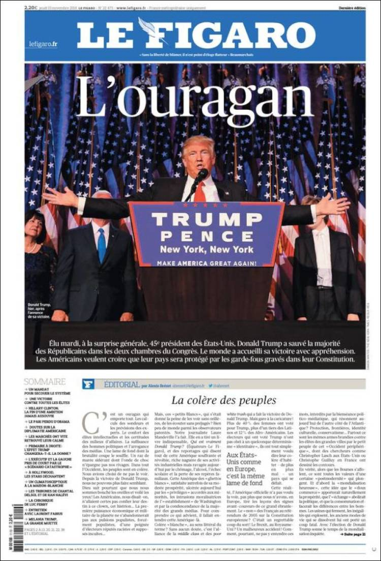 """The Hurricane"" is how France's Le Figaro describes the President-Elect"