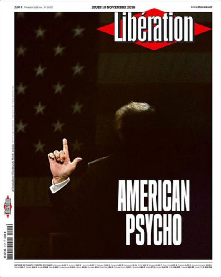 "France's left-wing Libération calls Trump an ""American Psycho"""