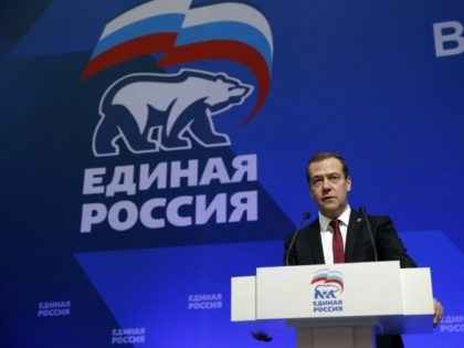 Russia's Prime Minister and Chairman of the United Russia Party Dmitry Medvedev speaks at the joint meeting of the party's supreme and general council in Moscow on September 24, 2016. / AFP / SPUTNIK / Dmitry Astakhov (Photo credit should read DMITRY ASTAKHOV/AFP/Getty Images)