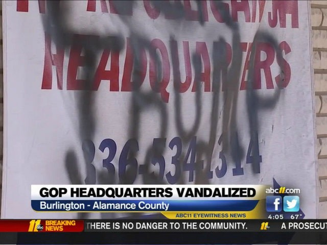 NC Republicans' Alamance County building vandalized with anti-Trump message