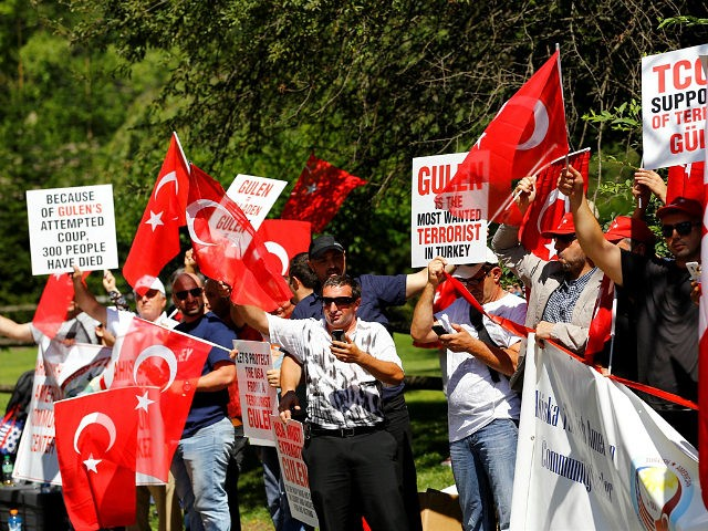 PENNSYLVANIA, USA - AUGUST 7: People gather to support Democracy and Martyrs' Rally, held to protest against the July 15 failed coup by the Fetullah Terrorist Organization (FETO) at Yenikapi in Istanbul, near the Fettullah Gulen's residence in Pennsylvania, United States on August 7, 2016. Turkish officials accuse U.S. based …