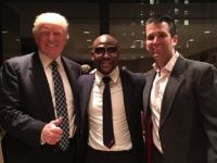 Donald Trump, Floyd Mayweather, Donald Trump, Jr. in Brooklyn, NY to promote Showtime Boxing