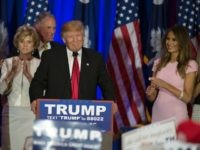 Republican presidential candidate Donald Trump celebrates winning the South Carolina primary in Spartanburg, South Carolina, February 20, 2016. Republican presidential frontrunner Donald Trump grabbed a big win in the South Carolina primary on February 20, 2016. The 69-year-old Trump captured about a third of the votes, according to early counts, …