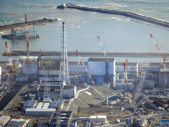An aerial photo shows the troubled Fukushima No. 1 nuclear power plant in Okuma, Fukushima Prefecture on Nov. 22, 2016, after the strong magnitude 7.4 earthquake hit the coast of the prefecture. The power plant, damaged by 2011 tsunami, has been under decomission work and had no report accident. ( The Yomiuri Shimbun via AP Images )