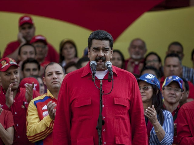 "Venezuela's President Nicolas Maduro speaks during a political rally against the Congress in Caracas, Venezuela, Tuesday, Oct. 25, 2016. After the government suspended a recall referendum seeking Maduro's removal last week, the opposition-controlled congress began debating his ""constitutional situation."" Lawmakers vow to present evidence that Maduro a dual Colombian citizen …"