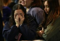 Supporters of US Democratic presidential nominee Hillary Clinton react to incoming nresults during election night at the Jacob K. Javits Convention Center in New York, on November 8, 2016