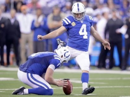 Adam Vinatieri of the Indianapolis Colts attempts to kick a field goal during the game against the Tennessee Titans on November 20, 2016 in Indianapolis - he missed the kick