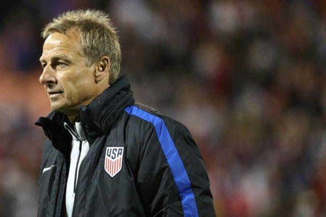 Former US men's national football coach Jurgen Klinsmann, seen in October 2016, was fired by the US Soccer Federation November 21, 2016