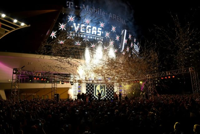 Pyrotechnics and streamers are fired into the air as the Vegas Golden Knights is announced as the name for the Las Vegas NHL franchise at T-Mobile Arena on November 22, 2016 in Las Vegas