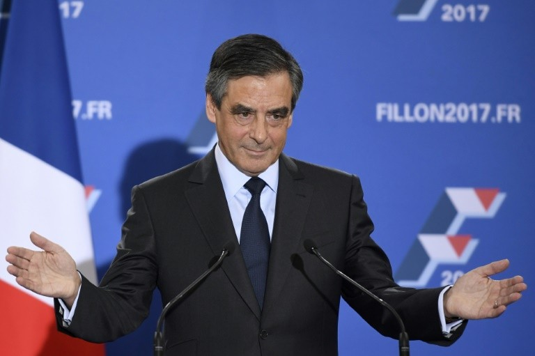 French member of Parliament and candidate for the right-wing primaries ahead of France's 2017 presidential elections, Francois Fillon delivers a speech following the first results of the primary's second round on November 27, 2016