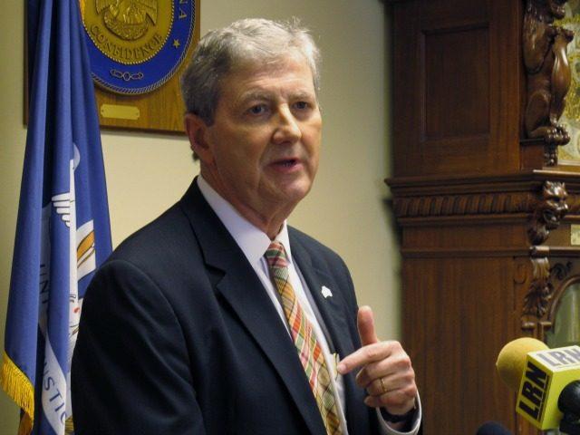 Republican state Treasurer John Kennedy speaks after signing the paperwork to run in Louisiana's U.S. Senate race, on Wednesday, July 20, 2016, in Baton Rouge, La.