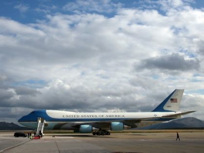 Air Force One is seen at Athens International Airport Eleftherios Venizelos, Wednesday, Nov. 16, 2016.