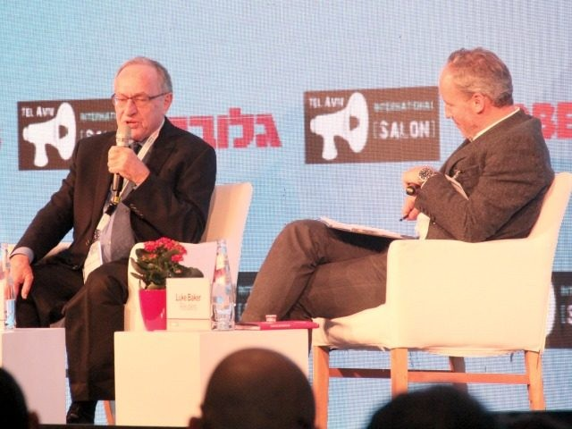 Alan Dershowitz in conversation with Reuters Jerusalem bureau chief Luke Baker at Tel Aviv Internationals event Israel Business Conference, Tel Aviv Dec 11 2016. Photo: Deborah Danan
