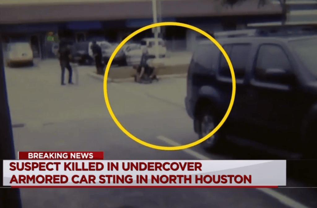 Cell phone video reported by KTRK ABC13 shows officers taking down one of the armed suspects.