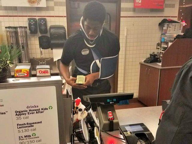 Teen works despite neck brace, donating to homeless