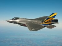 : Image has been received by U.S. Military prior to transmission) In this image released by the U.S. Navy courtesy of Lockheed Martin, the U.S. Navy variant of the F-35 Joint Strike Fighter, the F-35C, conducts a test flight February 11, 2011 over the Chesapeake Bay. Lt. Cmdr. Eric 'Magic' Buus flew the F-35C for two hours, checking instruments that will measure structural loads on the airframe during flight maneuvers. The F-35C is distinct from the F-35A and F-35B variants with larger wing surfaces and reinforced landing gear for greater control when operating in the demanding carrier take-off and landing environment.