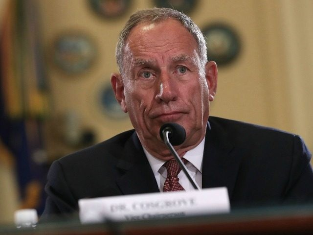 Vice Chairperson Delos Cosgrove of Commission on Care testifies during a hearing before the House Veterans Affairs Committee September 7, 2016 on Capitol Hill in Washington, DC. The committee held a hearing on From Tumult to Transformation: The Commission on Care and the Future of the VA Healthcare System. (Photo …