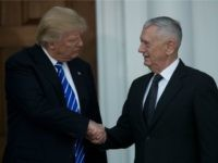President-elect Donald Trump shakes hands with retired United States Marine Corps general James Mattis after their meeting at Trump International Golf Club, November 19, 2016 in Bedminster Township, New Jersey. Trump and his transition team are in the process of filling cabinet and other high level positions for the new administration. (Photo by